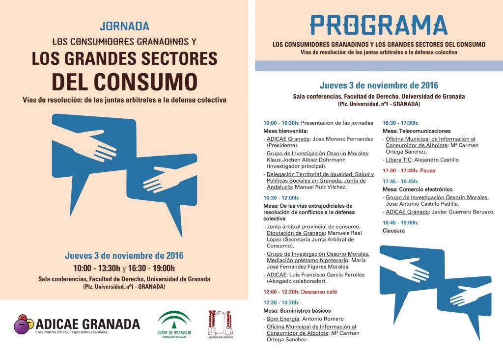 Programa Jornada Los Grandes Sectores de Consumo Adicae Nov. 2016